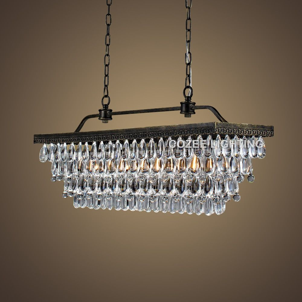 Vintage Rectangular Chandeliers LED Lighting Modern Glass Drops Chandelier Light for Home Hotel Wedding Centerpieces Decoration