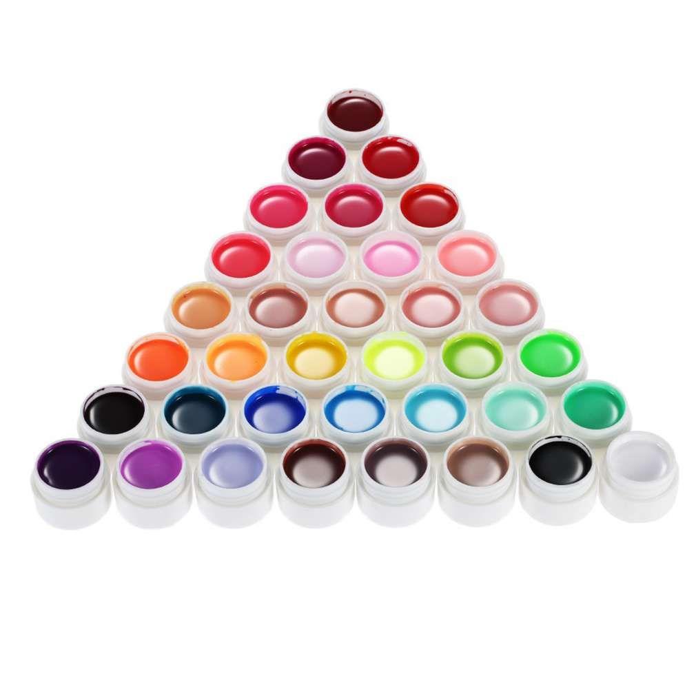 Haute Qualité 36 Couleurs Nail Gel 6-8 ml Nail Art Glitter UV lampe Vernis À Ongles Gel Acrylique Builder Colle Solide Ensemble de Longue Durée
