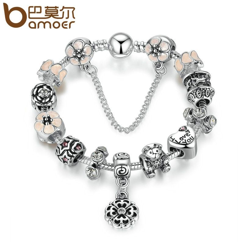 BAMOER Antique Silver Color I Love You Heart Pink Flower Safety Chain Charm Bracelets & Bangles Jewelry Accessories PA1506