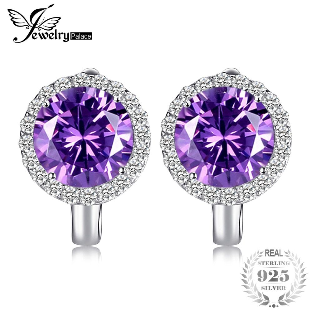 JewelryPalace Halo 2.9ct Created Alexandrite Sapphire Dangle Ring 925 Sterling Silver Fine Jewelry Trendy Earrings For Woman