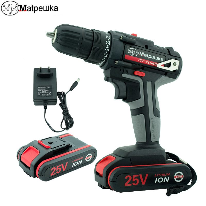 25V power tool handheld electric drill lithium cordless drill household rechargeable electric screwdriver 2 Batteries+2Gift+1bag