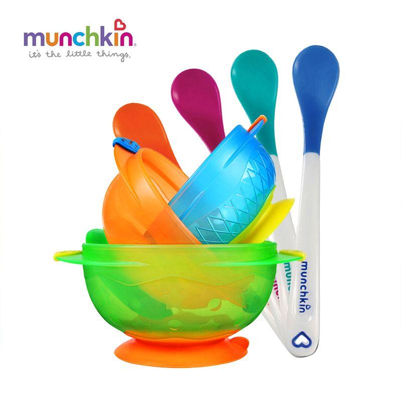 Munchkin Hotbaby Blanco Cucharas 4pk Stay Put Bowls Succión 3pk niños juego de vajilla, bebé infantil cucharas y cuencos, libre de BPA