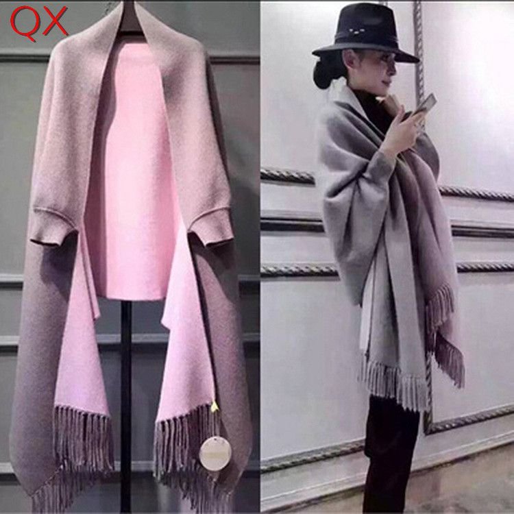 SC2 2017 Oversize Double Side Scarf Winter Faux <font><b>Cashmere</b></font> Poncho Women Solid Designer Female Long Sleeves Wrap Vintage Shawl