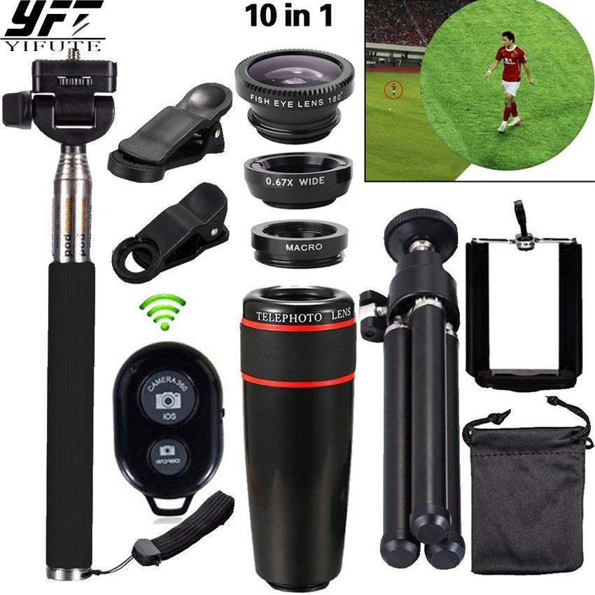 YIFUTE Camera 10in1 Phone Camera Lens 8x Telescopie Lenses <font><b>Fish</b></font> eye Lens Wide Angle MacroTripod For iPhone Samsung Xiaomi Huawei