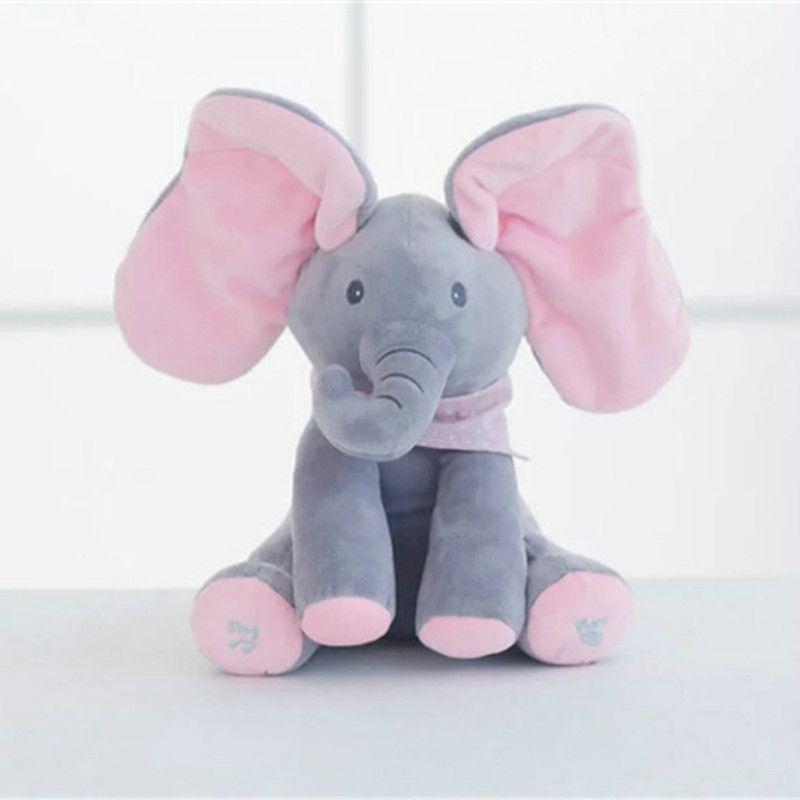 1 PC 30 cm Peek A Boo Elephant & Ours En Peluche Animaux & poupée en peluche Jouer de La Musique Éducatif Éléphant Anti- le stress Jouet Cadeau Pour Les Enfants