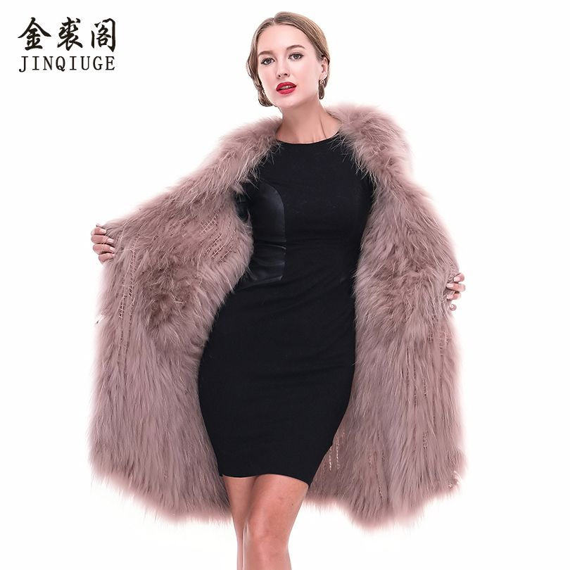 JINQIUGE Genuine Raccoon Fur Knitted Ladies Outwear Winter Warm Hairy Medium Length Jacket Real Raccoon Fur Thicker Overcoat