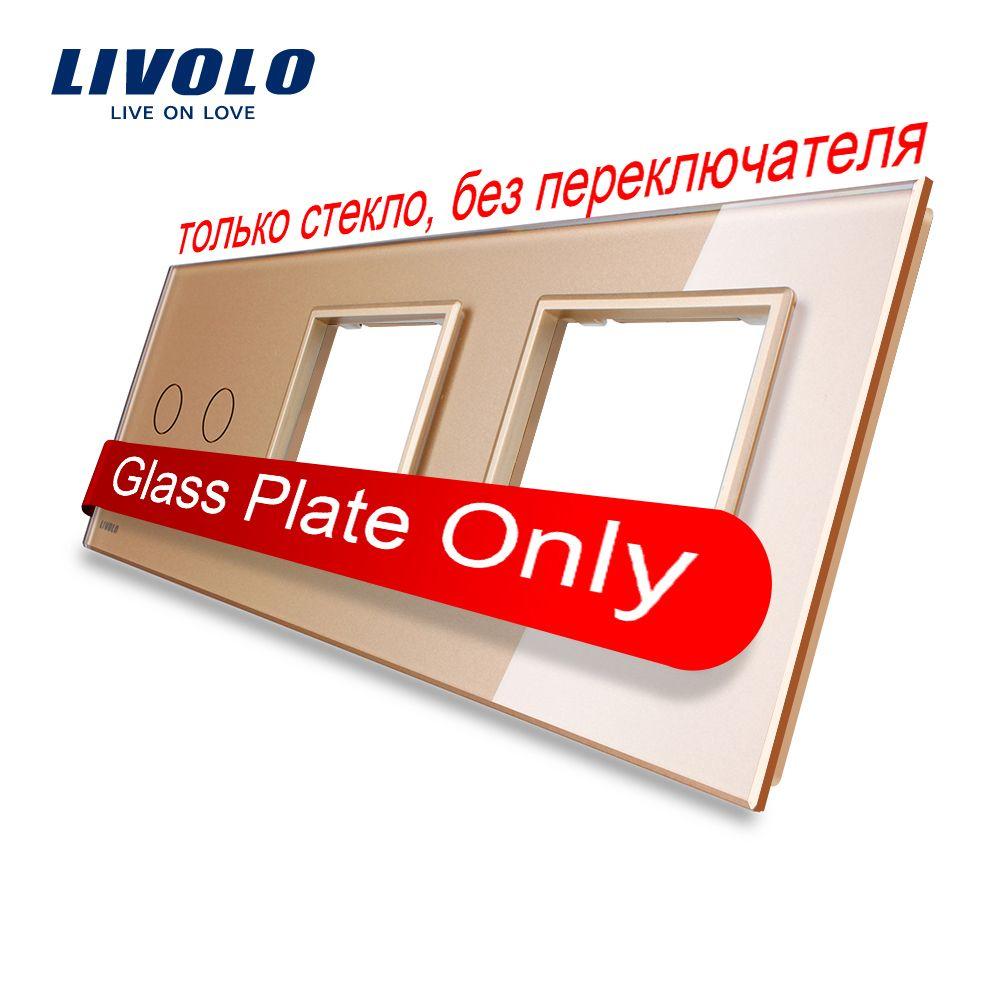 Freies Verschiffen, Livolo Goldene Perle Kristall Glas, 222mm * 80mm, EU standard, 2 Gang & 2 Rahmen Glasscheibe, VL-C7-C2/SR/SR-13