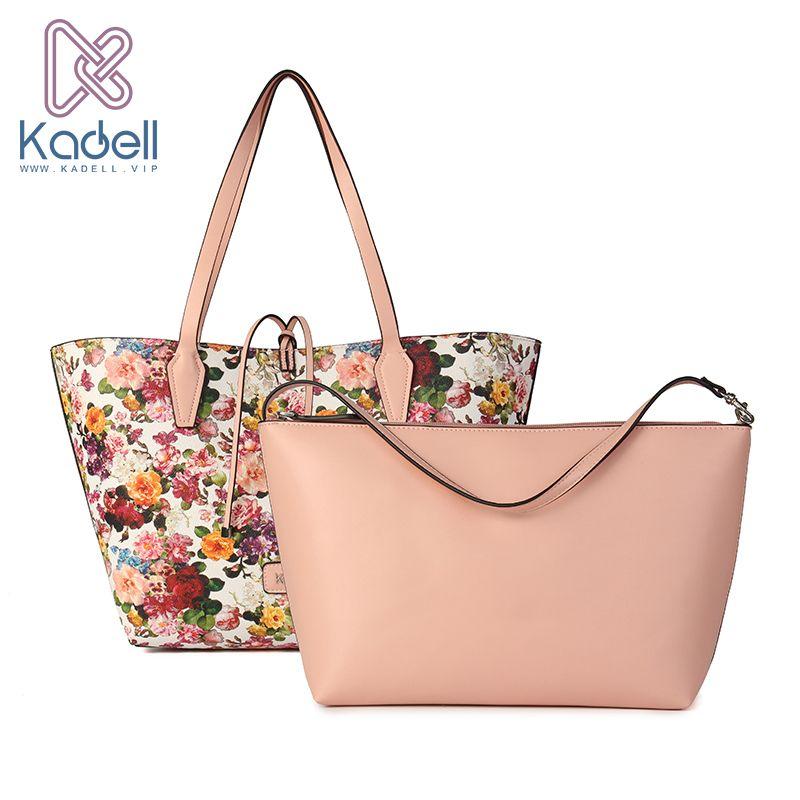 Kadell Marke 2 Teile/sätze Frische Blume Pu-leder Frauen Umhängetaschen Hohe Kapazität Tote Vintage Eleganten Tasche Handtasche Bolsa Feminina