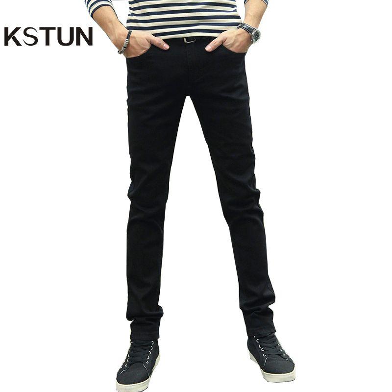 KSTUN Men Jeans Pencil Pants Stretch Casual Slim Leg Skinny Boys Male Yong Man Denim Trousers Solid Blue Black Quality Hombre 36