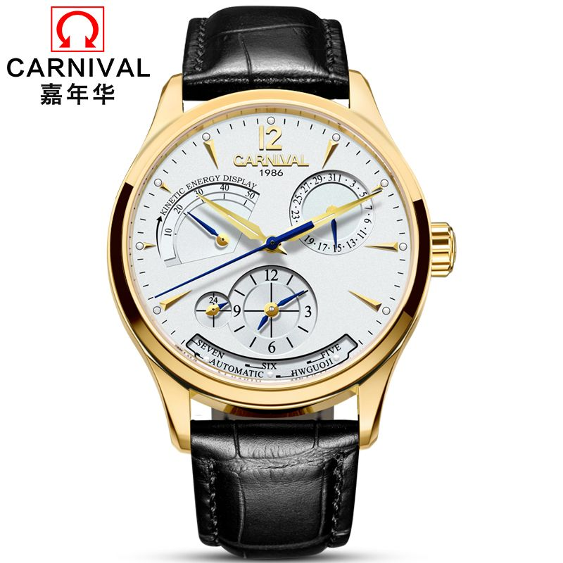 Carnival Automatische Uhr Männer Lederband Mechanische Uhren Herren Top-marke Luxus Gold Multifunktions-uhr horloges mannen