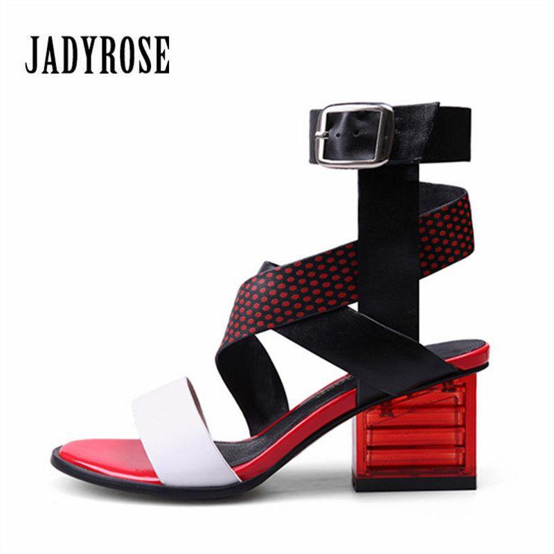 Jady Rose 2018 New Women's Sandals Cross Strap Gladiator Footwear Transparent Heel Female Genuine Leather High Heel Shoes Woman