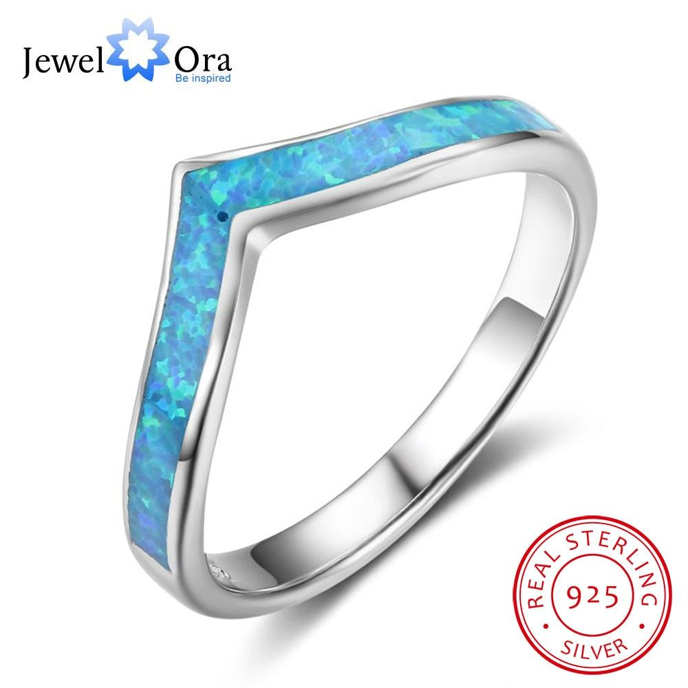 Simple Real 925 Sterling Silver Blue Opal Stone Finger Rings Ocean Style Women Jewelry Gift For Friendship (JewelOra RI102844)
