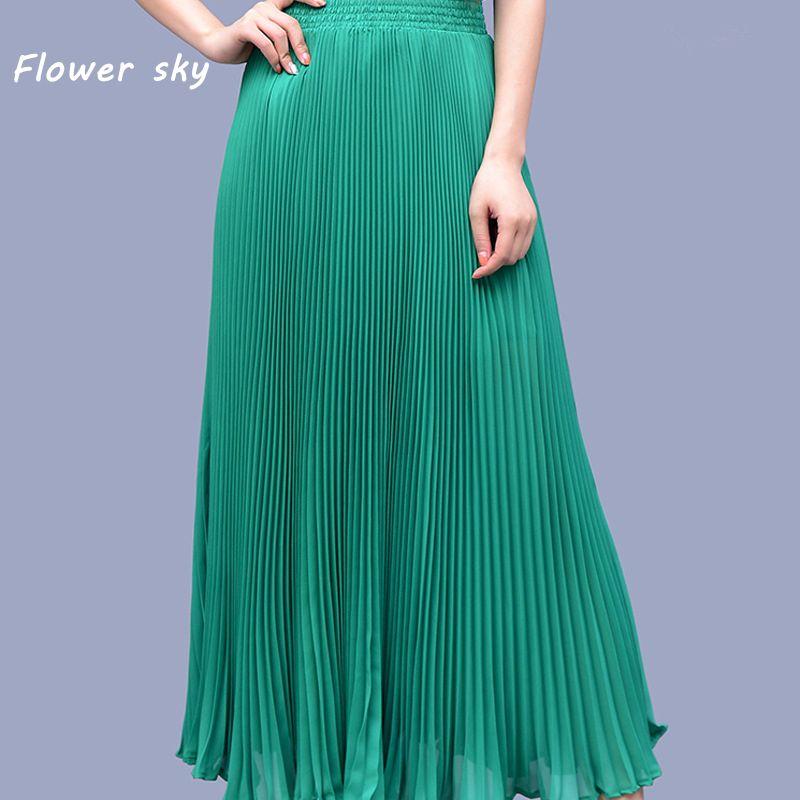 Летние шифон плиссированные юбки женские модные зеленые длинные Юбки для женщин для уличной женский онлайн Высокая талия эластичный пояс ...