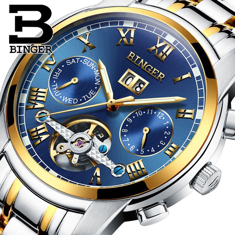 2017 Швейцария Механические часы Для мужчин наручные сапфир Бингер Элитный бренд Водонепроницаемый Часы мужской наручные сапфир Relogio masculin
