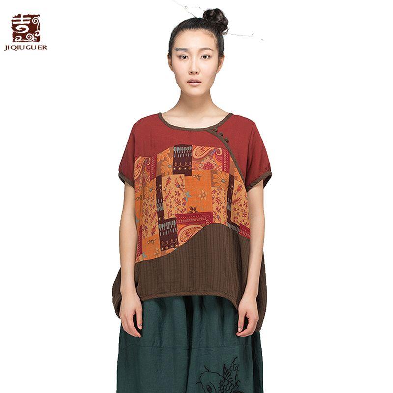 Jiqiuguer Frauen Vintage Print Patchwork Baumwolle T-shirt Plus Größe Oansatz Kurzhülse Lose Beiläufige Sommer Tops Tees G152Y017