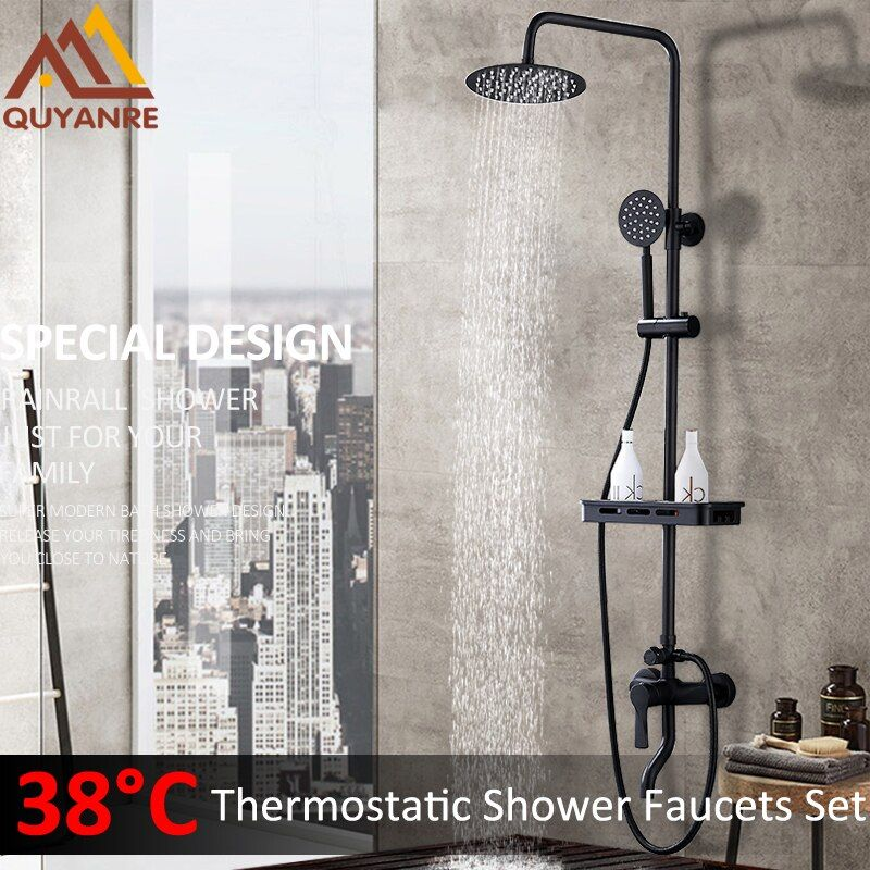 Quyanre Black ORB Thermostatic Shower Faucets Set Rain Shower Commodity Shelf Dual Function Spray 3 Way Mixer Tap Bath Shower