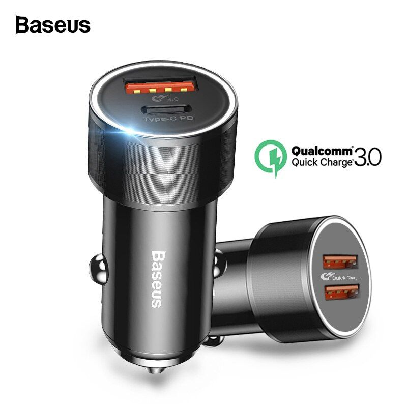 Baseus 36w USB Car Charger Quick Charge 3.0 QC QC3.0 Type C PD Fast Car Charging Charger For iPhone Samsung Xiaomi Mobile Phone