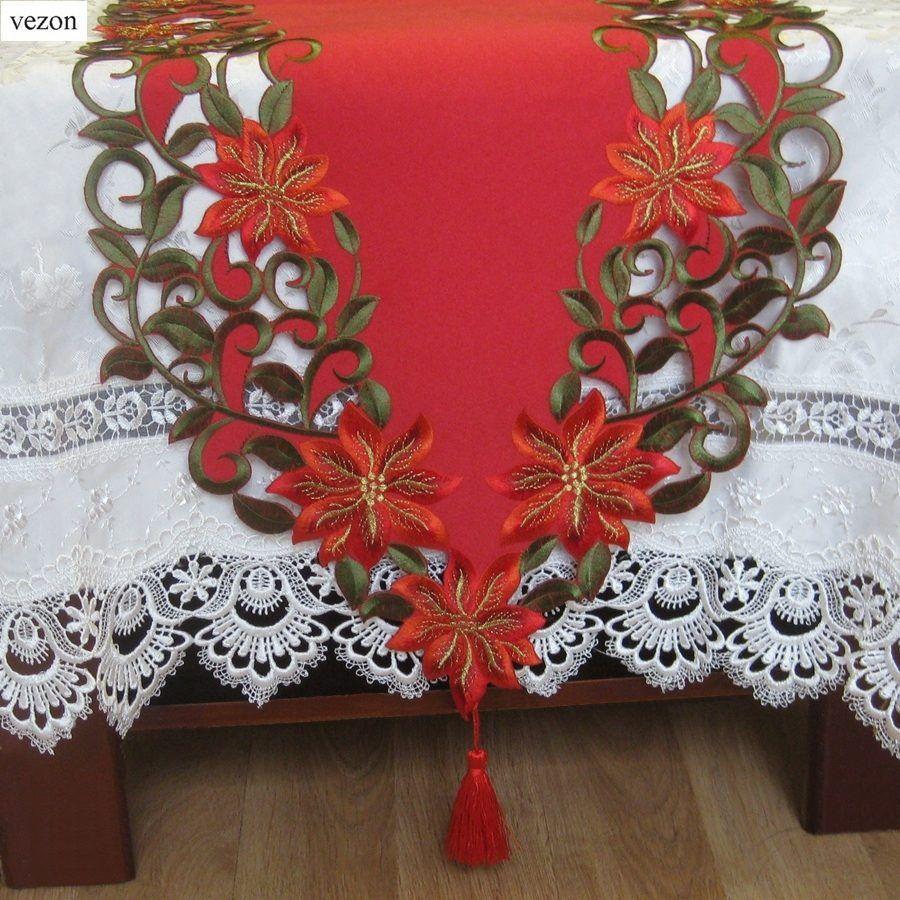 Vezon nouveau noël Polyester broderie de noël chemin de Table Satin nappe Cutwork napperon rouge Table drapeau serviette tissu couvre
