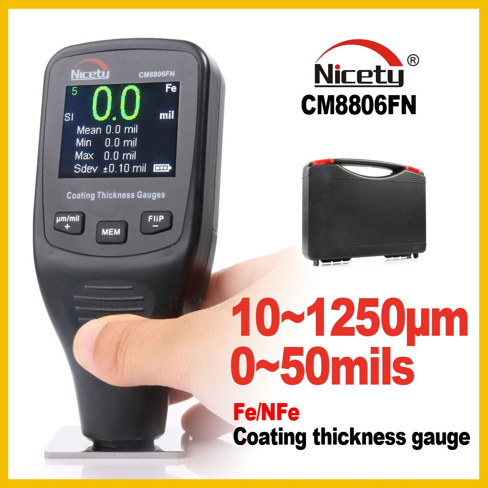 Nicety Automotive Car Paint Thickness Gauge Gauges of Paint and Varnish Film Coating for Cars Meter CM8806FN Fe NFe 2 in 1