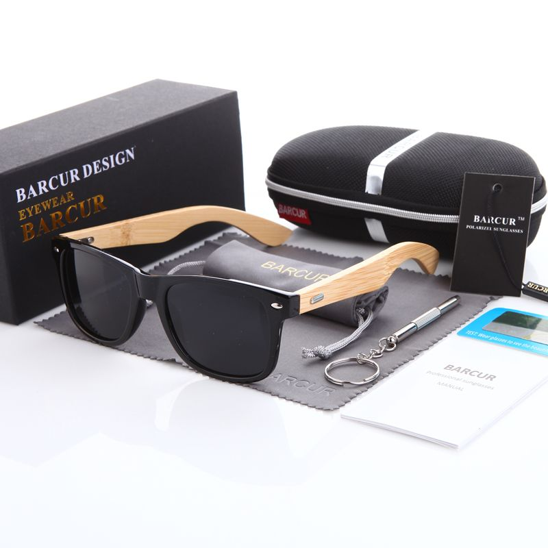 BARCUR Bamboo Polarized Sunglasses Men Polarized Wooden Sun glasses Women Brand Original Wood Glasses Oculos de sol <font><b>masculino</b></font>