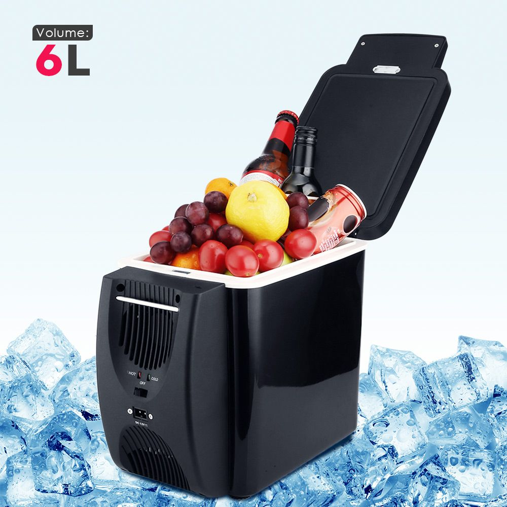 Car Refrigerator 6L Freezer Two Type Electrical Cooler Heater for Travel Hiking Camping Outdoor Dual-use Icebox Auto Fridge Blac
