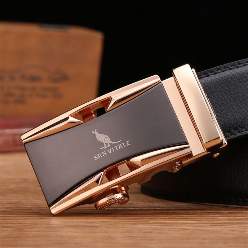 Célèbre marque ceinture hommes 100% bonne qualité peau de vache véritable luxe ceinture de cuir pour homme pour hommes, sangle mâle métal automatique boucle