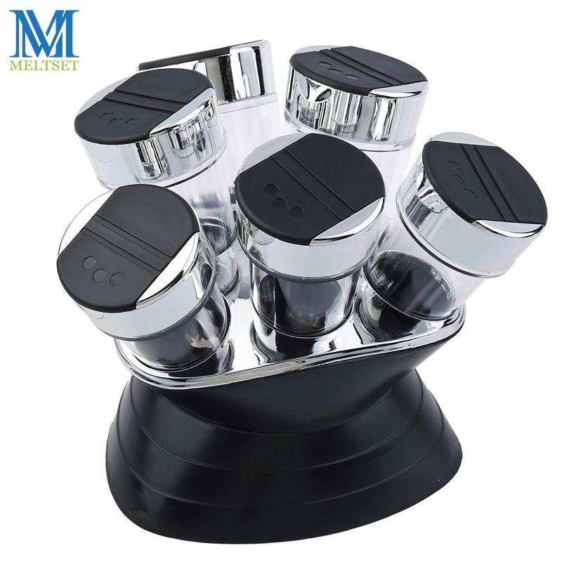 7 pièces Set de condiments poivre et sel Cruet en plastique cuisine épices Rack ensemble 6 pièces pots + 1 pc Rack noir