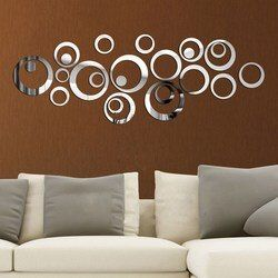 DIY Lingkaran 3D Cermin Dinding Stiker Decal Vinyl Seni Stiker Dinding Mural Yang Dapat Dilepas Dekorasi Kamar TV Latar Belakang Dekorasi Dinding Rumah
