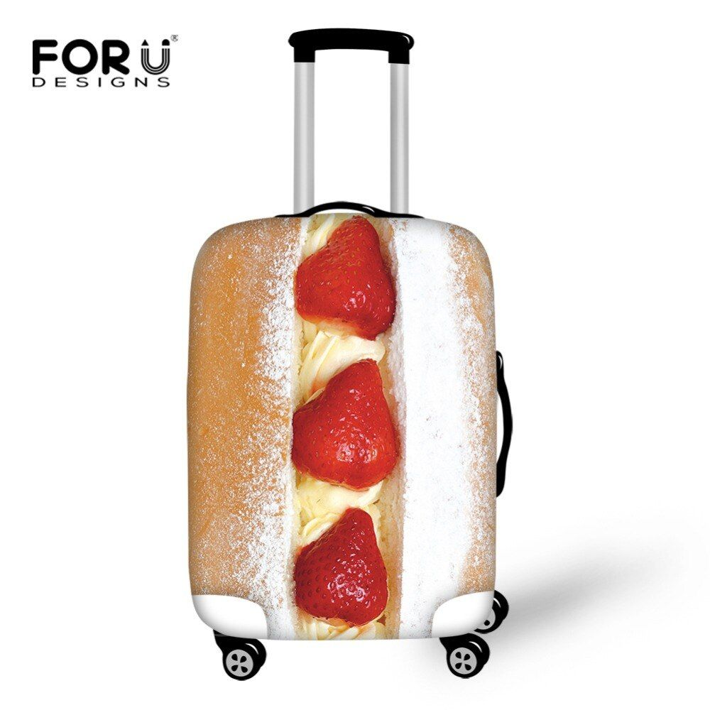 FORUDESIGNS Travel Suitcase Protector Cover Food Meat Strawberry Fish Print Elastic Luggage Covers for 18-30 Inch Trolley Cases