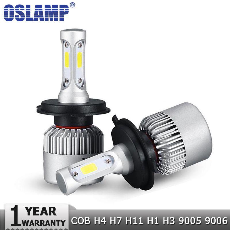 Oslamp H4 H7 H11 H1 H3 9005 9006 COB LED Car Headlight Bulbs Hi-Lo Beam 72W 8000LM 6500K Auto Headlamp Fog Light Bulb 12v 24v