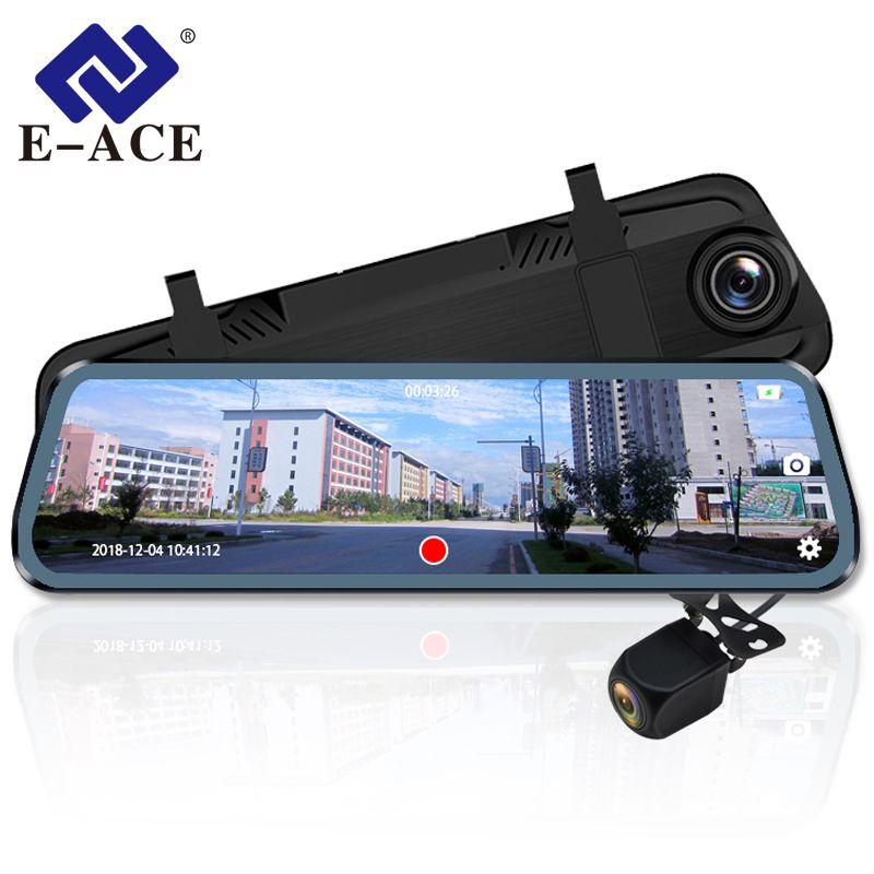 E-ACE Auto Dvr Kamera 10 Zoll Streaming Rückspiegel Dash Cam FHD 1080P Auto Registrar Video Recorder Mit Hinten view Kamera