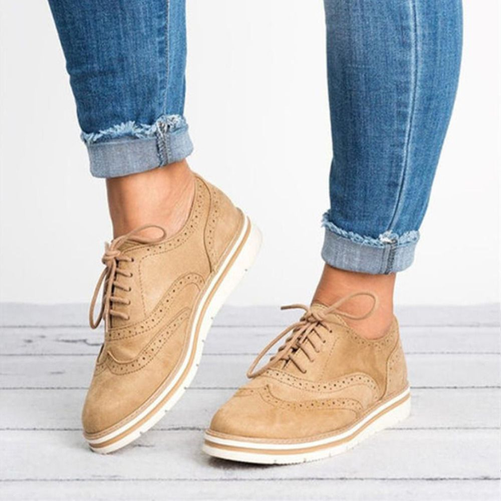 Grande taille 35-43 femmes plate plate plate plate-forme chaussures Oxfords Style britannique dames Creepers Brogue chaussure pour femme chaussures à lacets