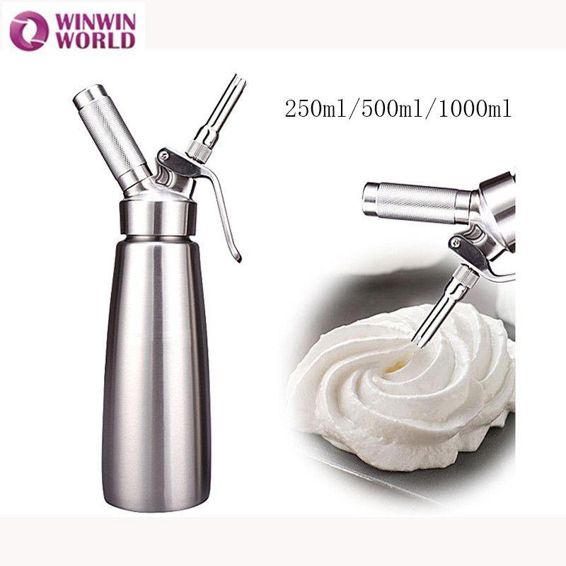 250 ml/500 ml/1000 ml Edelstahl Aluminium N2O Creme Whippers Heimgebrauch Dessert Werkzeug Schlagsahne Dispenser mit 3 Düsen Sifon
