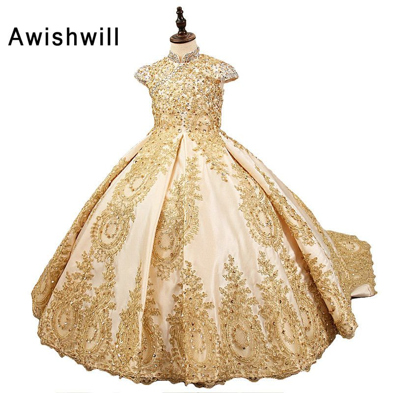 2018 Royal Flower Girl Dress for Weddings Satin Lace Beaded Ball Gown Girl Party Communion Dress Pageant Gown Gold Color