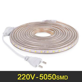 LED Light Strip Étanche AC 220 V SMD 5050 Flexible LED Bande Avec L'UE Plug 60 Led/m pour Salon Ruban