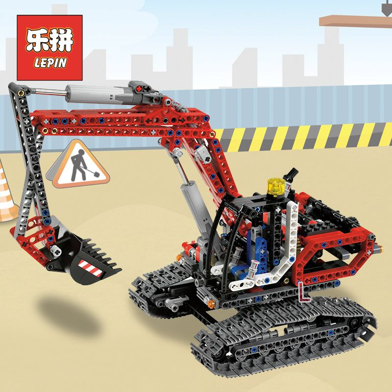 Lepin 20025 Genuine Technic Series the Red Engineering Excavator Set Building Blocks Bricks Educational Toys Boys Gift 8294