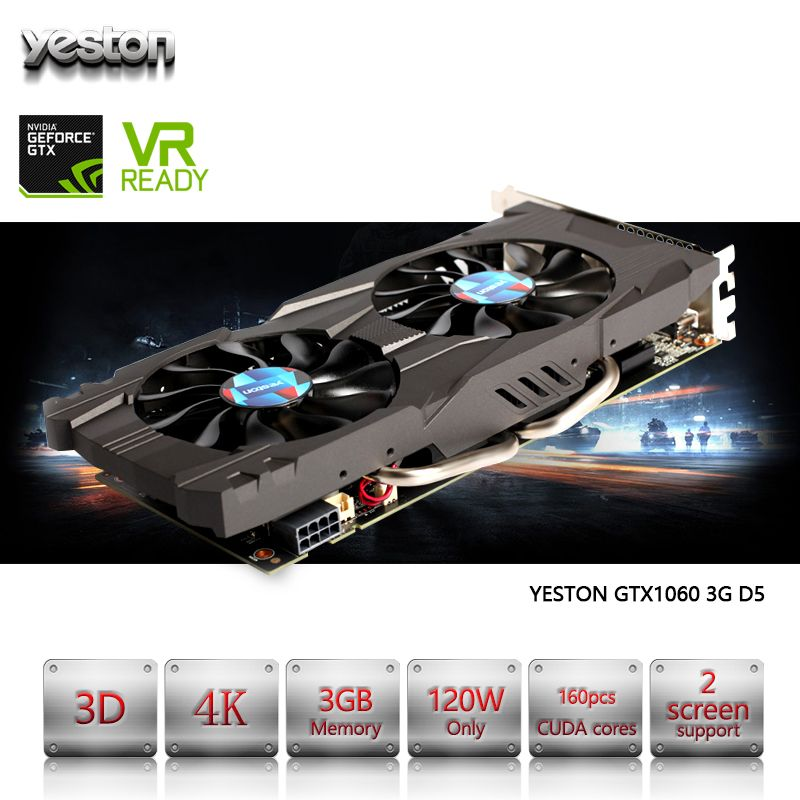 Yeston GeForce GTX 1060 GPU 3GB GDDR5 192 bit Gaming Desktop computer PC Video Graphics Cards support PCI-E X16 3.0