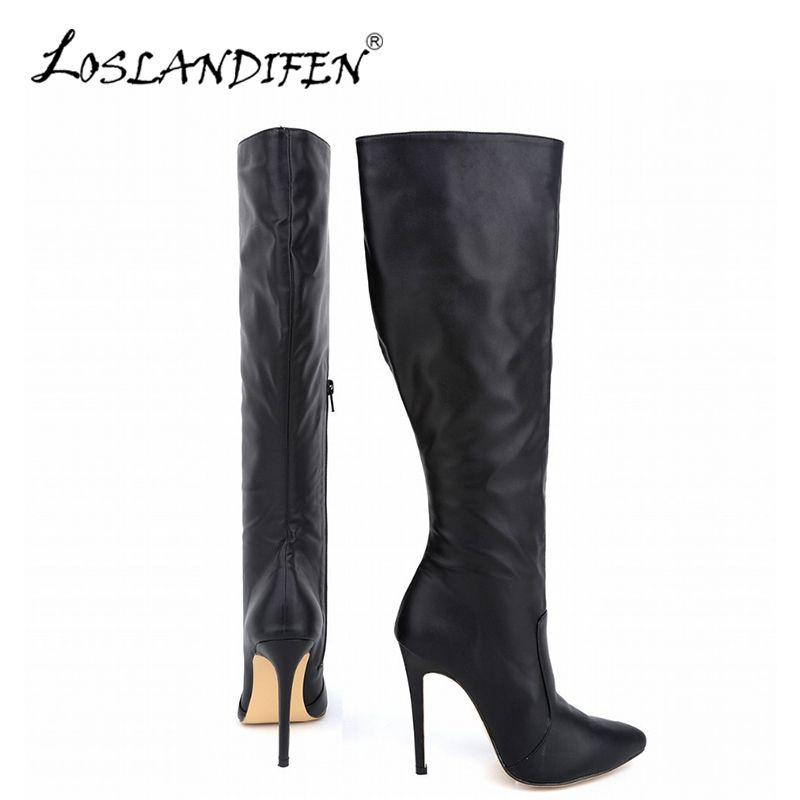 LOSLANDIFEN Women's Winter Boots Fashion Pointed Matte Plush Knee-High Boot Wide Calf High Heels Woman Snow Warm Shoes 769-3MA