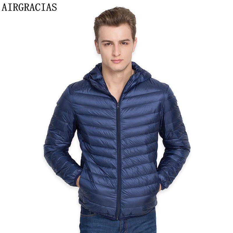 AIRGRACIAS Brand White Duck Down Jacket Men Autumn Winter Warm Coat Men's Ultralight Duck Down Jacket Male Windproof Parka LM005