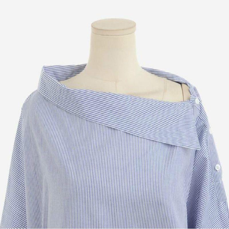 New summer 2018Lossky Women's Striped SexyShirt Strapless Loose Long Sleeve WomenPlus Size Slash Neck Women Shirts