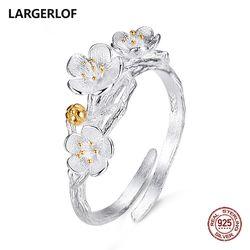 Largerlof 925 стерлингов Серебряные кольца для Для женщин цветок Кольца Мода 2017 г. Свадебные Кольца JZ12077
