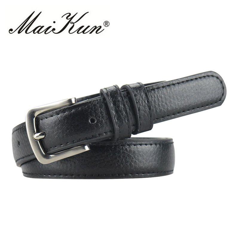 MaiKun ceintures minces pour femmes ceinture de luxe marque en cuir femme ceinture en métal boucle de ceinture