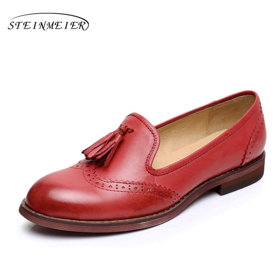 De cuero de piel de oveja zapatos planos de las mujeres EE.UU. tamaño 9 hecho a mano marrón azul rojo 2017 de la vendimia Punta redonda de estilo Británico zapatos oxford para las mujeres