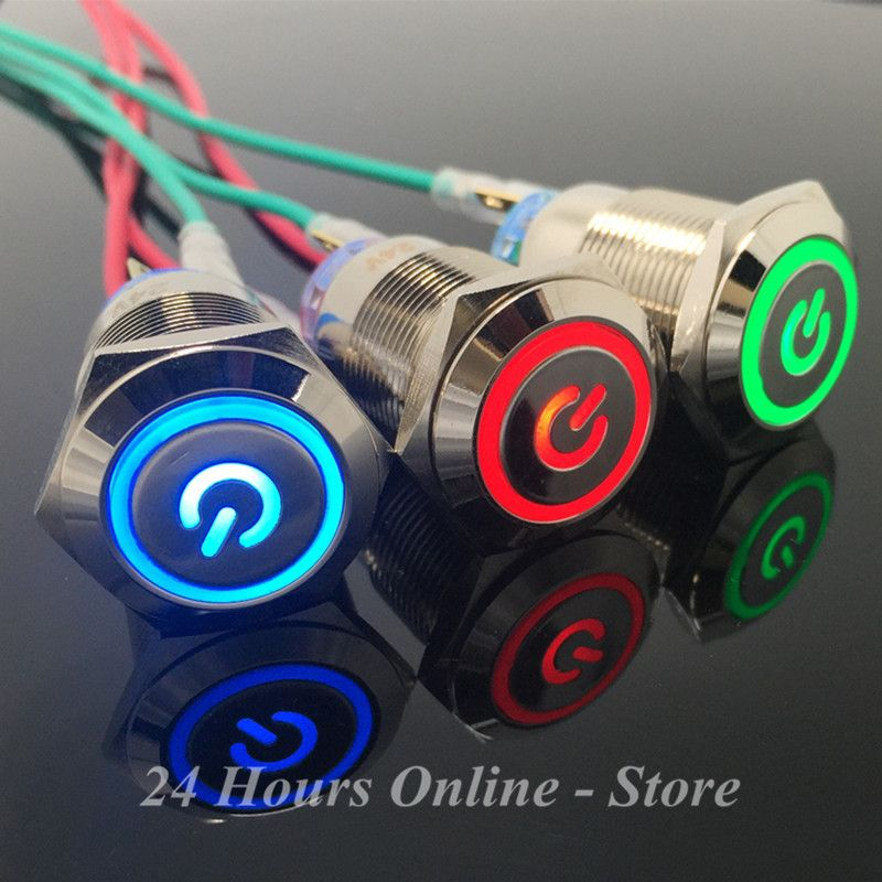 5-Colors Car Computer Appliances DIY 19mm 12V Metal LED Power Push Button Switch Self-locking With Power symbol galle