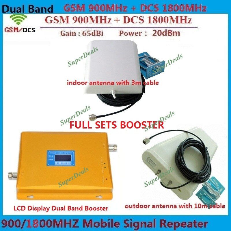 LCD Display Dual band GSM DCS 2G Cell phone Repeater BOOSTER GSM 900 1800 REPEATER Amplifier with LDPA Antenna and Panel Antenna