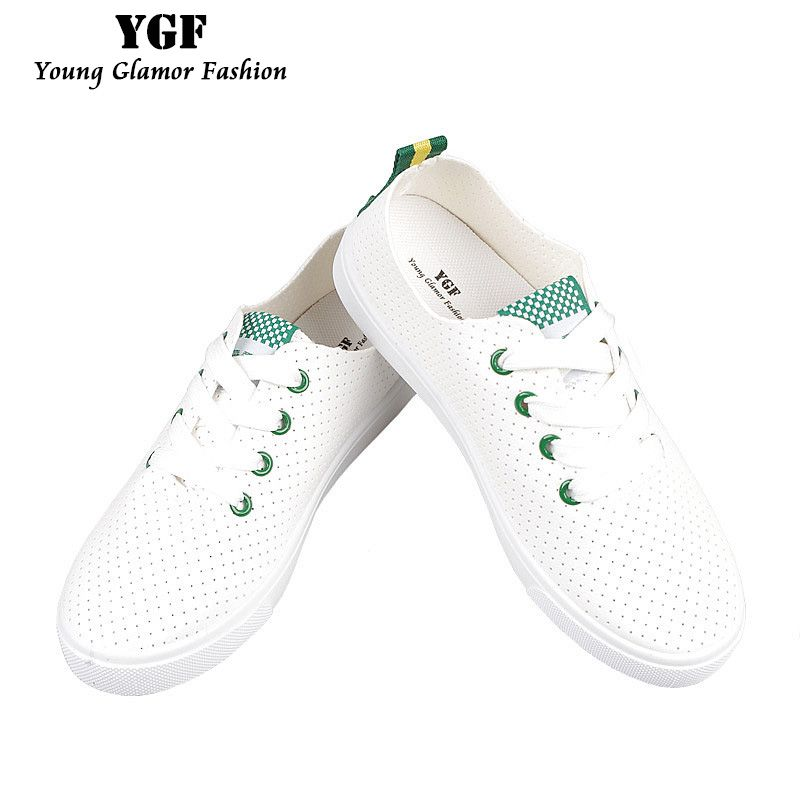 YGF New Fashion Women Shoes Casual White Flat Shoe Leather Lace Up Tenis Feminino Summer Breathable Casual Shoes Ladies Sapato