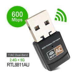 USB inalámbrico 600 Mbps adaptador wifi AC600 2,4 GHz 5 GHz WiFi antena Mini PC receptor tarjeta de red Dual banda 802.11b/n/g/ac