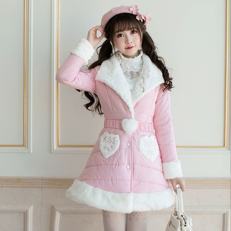 Princess sweet lolita parkas All-match Korean girls cotton candy rain slim long sleeved Single breasted long parkas C22CD7298