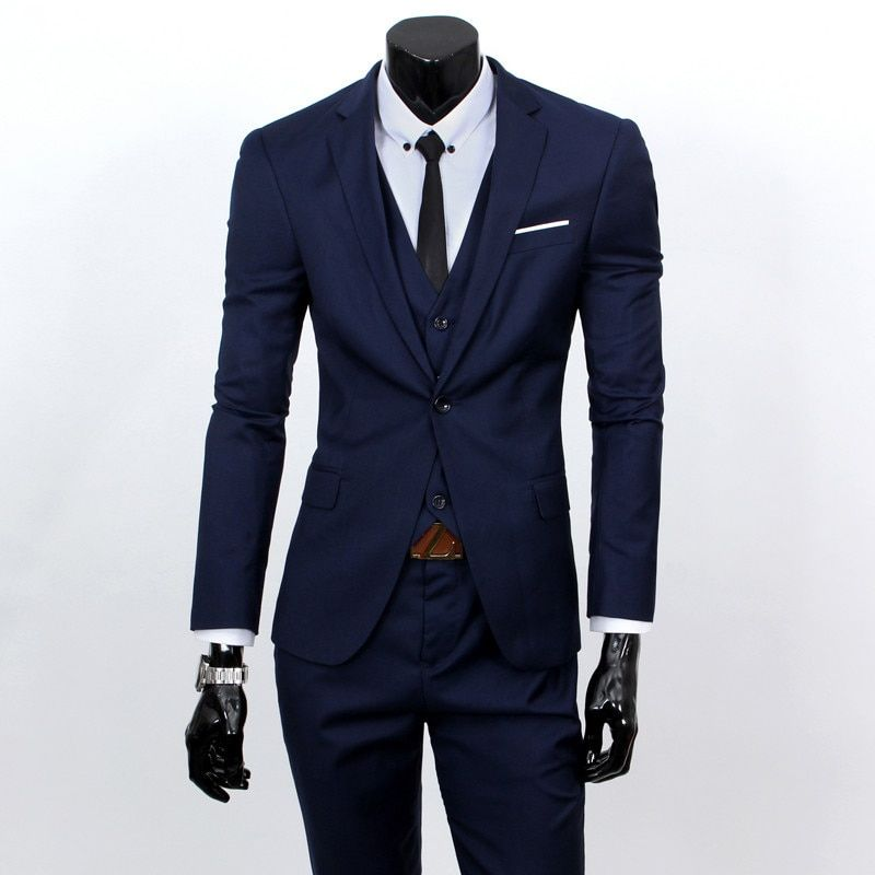 (Vestes + gilet + pantalon) 2019 mode homme qualité slim haute qualité coton affaires BLAZER/hommes marié robe costume trois pièces/vestes