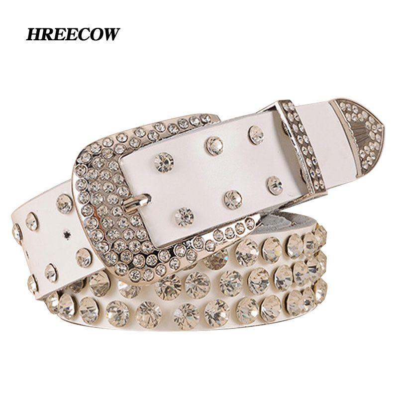 Brand New mode Femme en cuir ceinture femelle pleine de forage au diamant large ceinture Strass ceintures cinto feminino pour les femmes